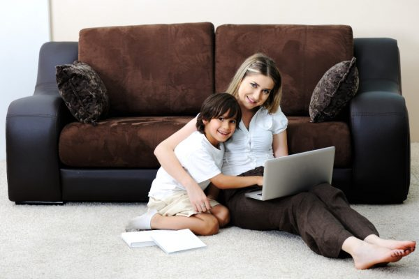 Mother-1-son-sitting-floor-computer-SF-reduced
